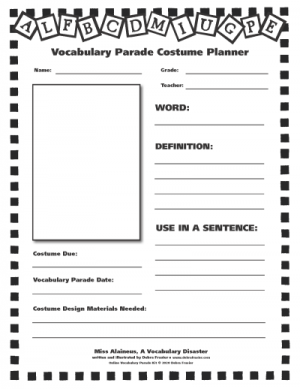 Vocabulary Parade Costume Planner