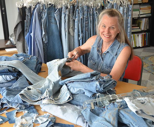 Debra Frasier cutting jeans for book