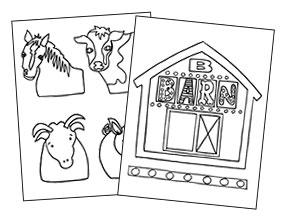 Barn Box Coloring Sheet & Animal Puppets